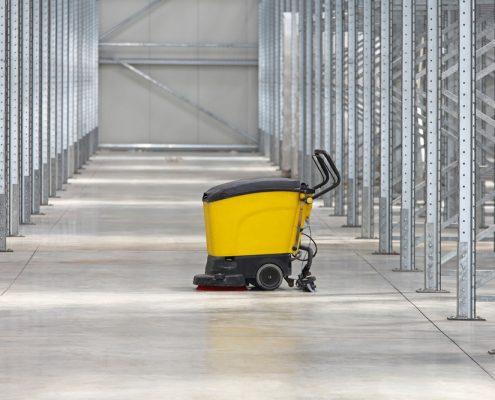 Floor cleaner and industrial floor